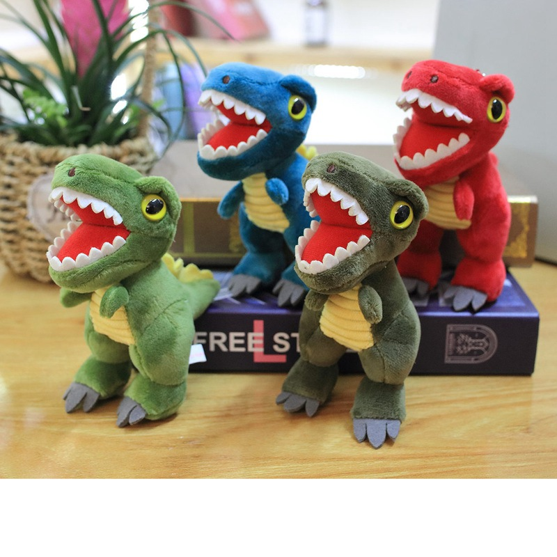 16cm Simulation Dinosaur Plush Toy Soft Stuffed Cartoon Animal Tyrannosaurus Doll Backpack Keychain Pendant Toy Children Gift