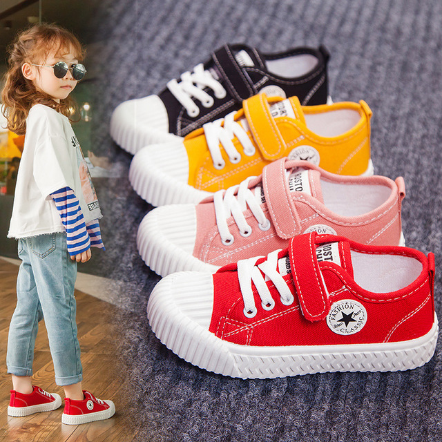25% Children Girls  Board Shoes Girls Canvas  Five Star Casual Shoes Flat Shoes 4colors 25-36 901 TX04