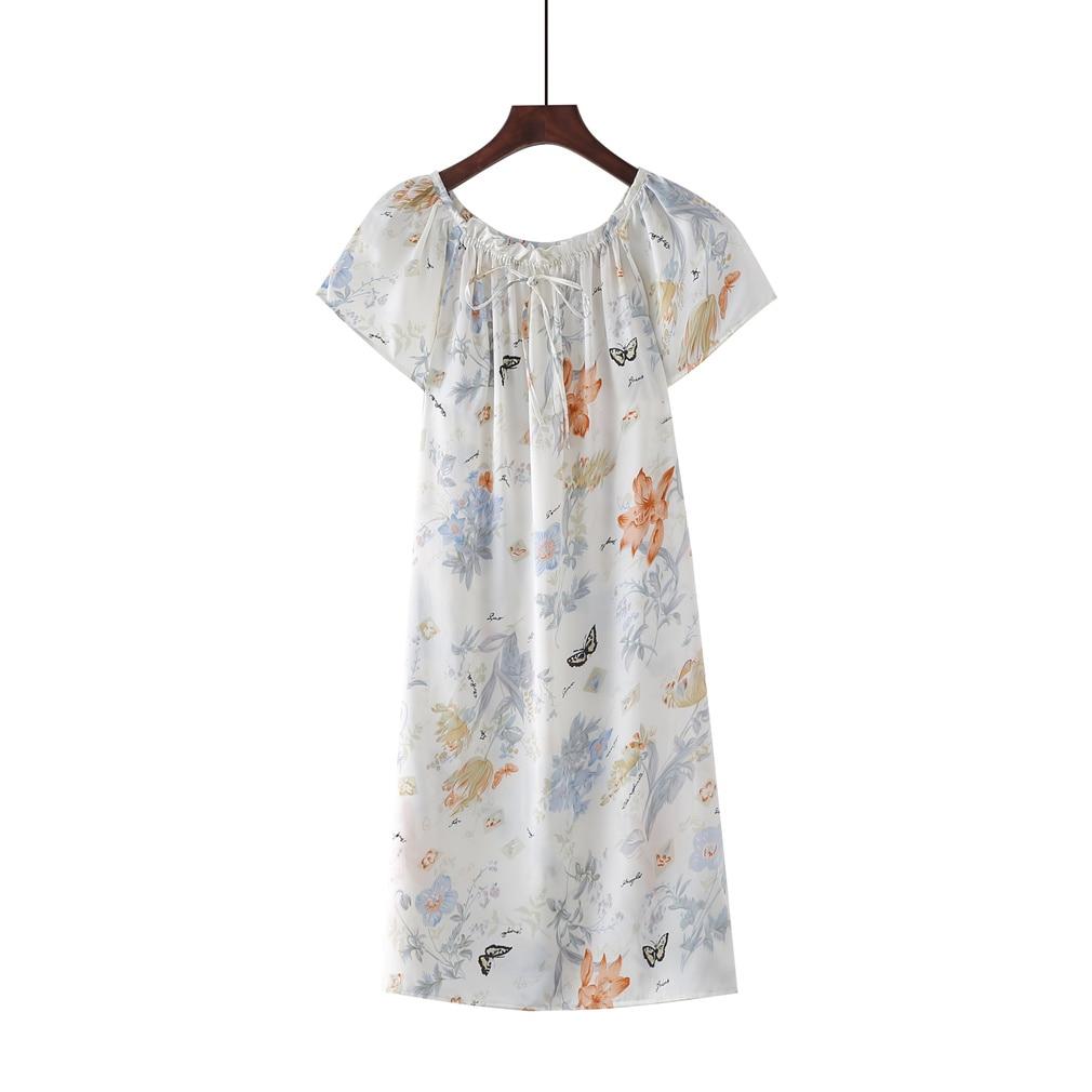 Neu ankommen 100% Pure Mulberry Floral Silk Nightgown Klassische Nachtwäsche Weiche Nachtwäsche Sommerkleid Stil Multicolor Free Size