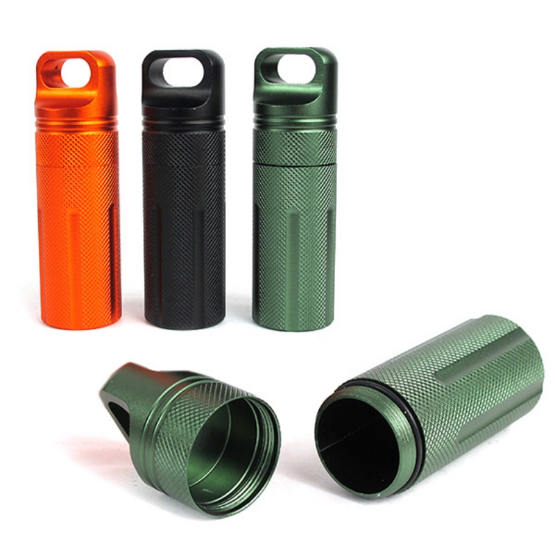 Waterproof Emergency EDC Survival Health Care Seal Box Case Aluminum Pill Tank Capsule Bottle Holder Container Portable Tools