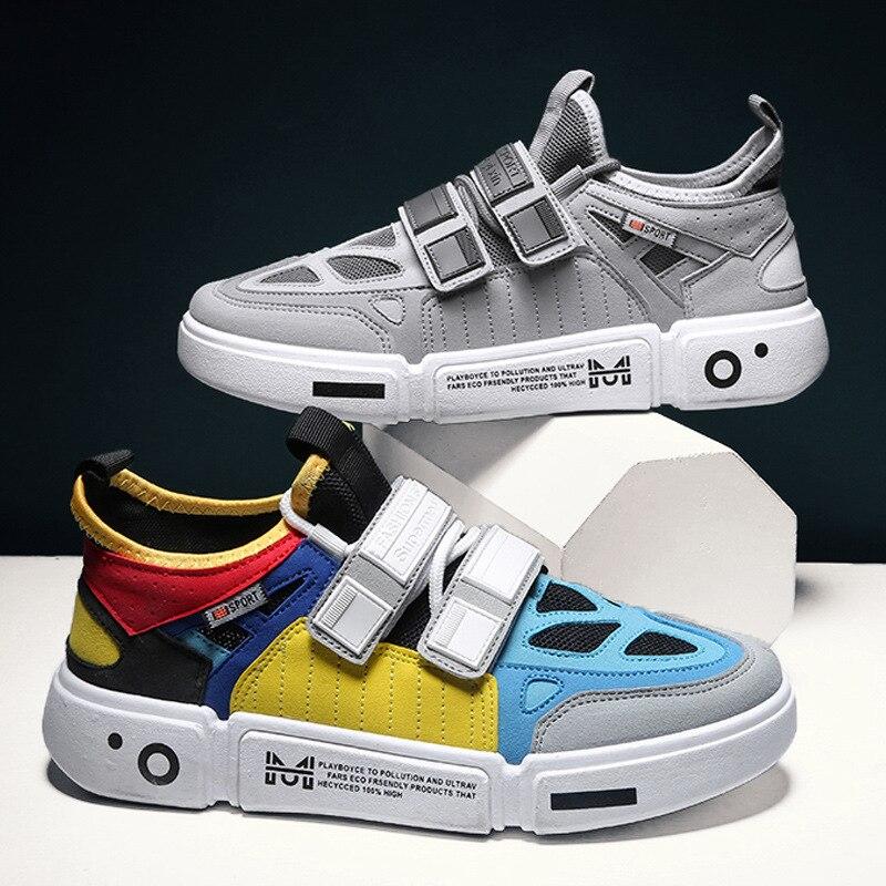 Трендовые цветные мужские повседневные туфли 2019 г. Новые всесезонные мужские туфли Корейская версия спортивной обуви на липучке|Повседневная обувь|   | АлиЭкспресс
