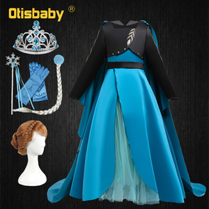 Snow Queen 2 Halloween Girls Anna Costume Princess Elsa Anna Dress with Long Cape Christmas Party Dress Girls Boutique Outfits