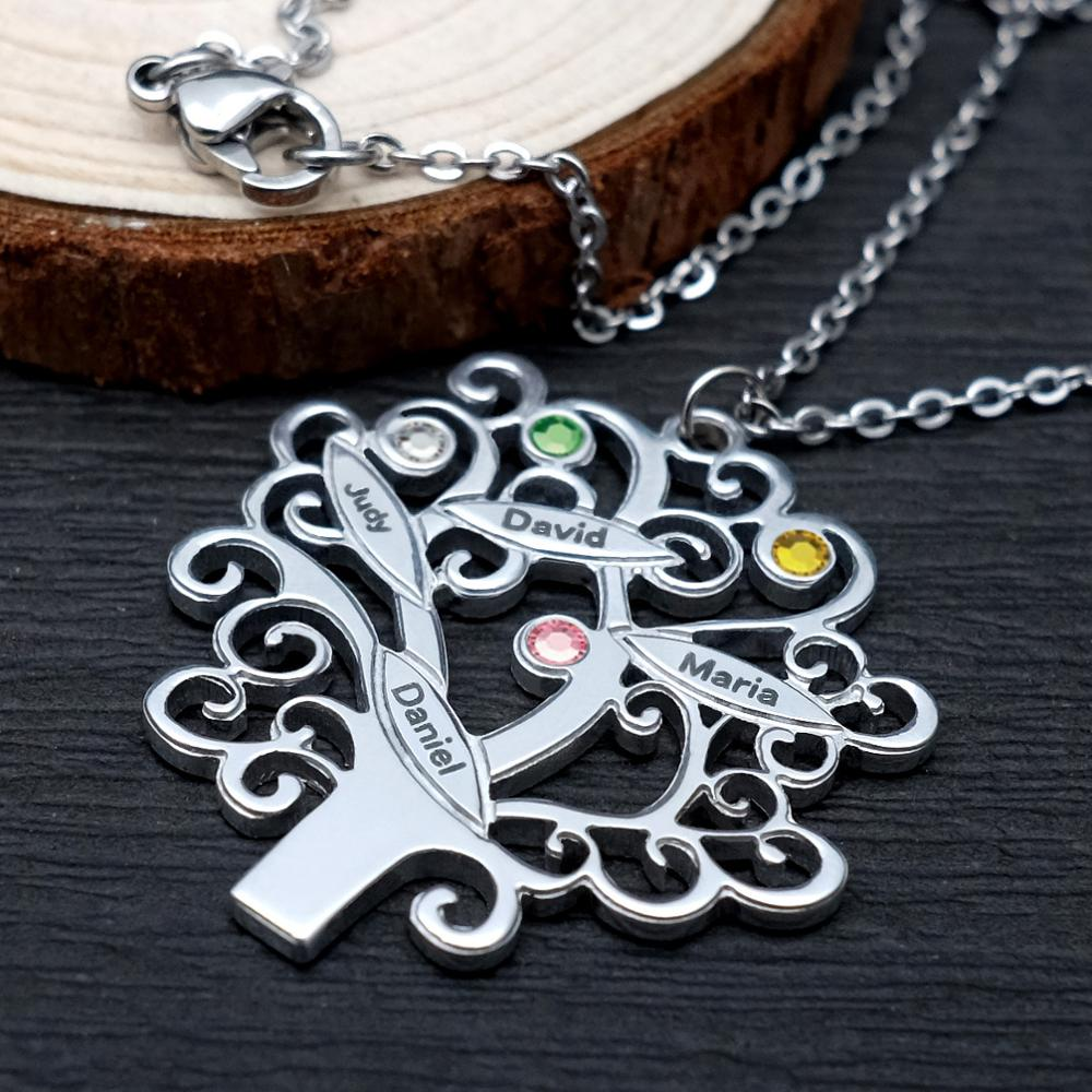 Personalized Family Tree Necklace Birthstone Necklace For Mom Tree Of Life Necklace Name Pendant Gift For Her Grandma Jewelry