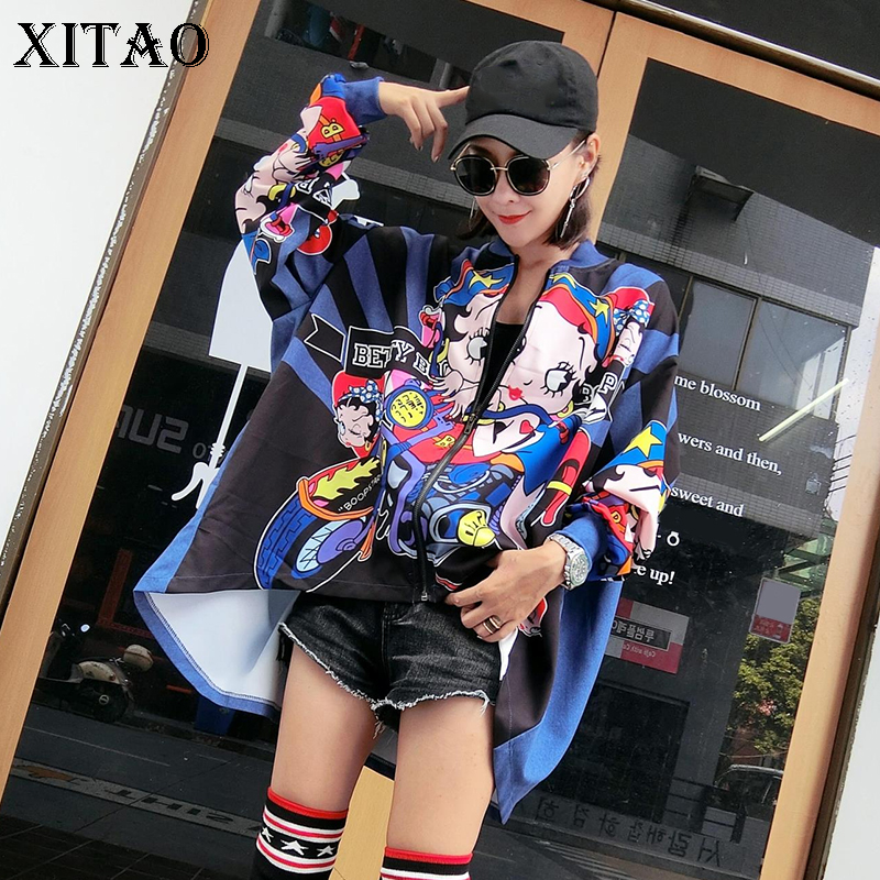 XITAO Print Harajuku Women Cartoon Jackets Plus Size Japanese Streetwear Batwing Sleeve Oversize Women Irregular Coat WYR089
