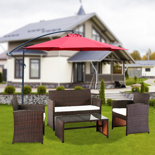 4 PCS Outdoor Rattan Chair Wicker Sofa Garden Bistro Sets  1