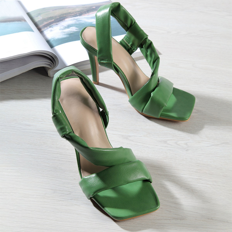 2021 Women Fashion Leather Summer High Heels Sandals Ladies Leisure Elegant Comfortable Shoes Female Rubber Sole Chaussure