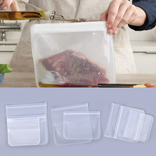 2020 1pc New Silicone Food Storage Containers Leakproof Reusable Stand Up Zip Shut Bag Cup Fresh