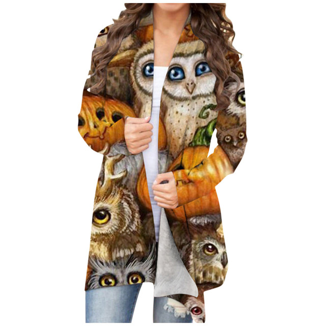 Owl Animal Print Women's Cardigan Casual Halloween Pumpkin Print Girl Top Long Sleeve Western Style Kawaii Funny Female Blouse 1