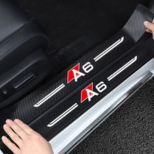 Car door decoration for Audi A6 C6 8P 8V 8V B8 A5 B6 car door sill protection 4PCS carbon fiber car interior Scratch resistant