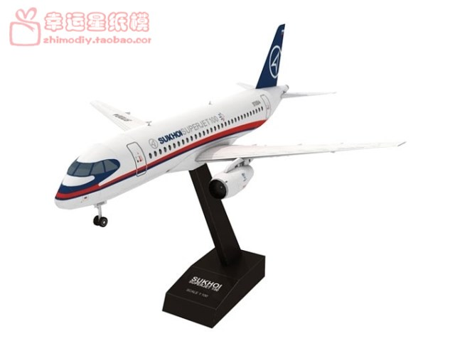 Vehicle Aircraft SukhoiSuperjet1003d Paper Model DIY Handmade