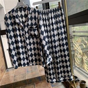 Image 5 - Lisacmvpnel Plaid Printing Long Sleeve Women Pajama Set Satin Soft Pajamas