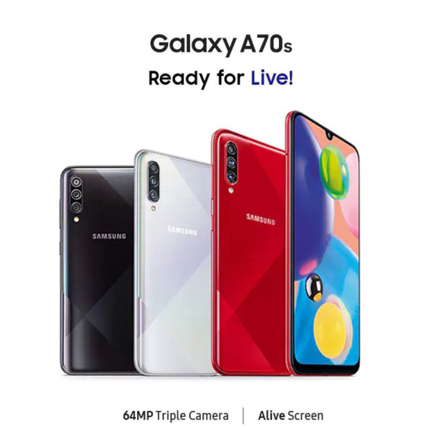 "Samsung Galaxy A70S Smartphone 8GB 128GB 6.7 ""Snapdragon 675 Octa core 4500mAh 64MP"