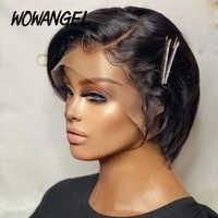 Peluca corta de corte Pixie prearrancada, pelucas de cabello humano con encaje frontal, nudo blanqueado Remy peruano, color negro Natural, barato