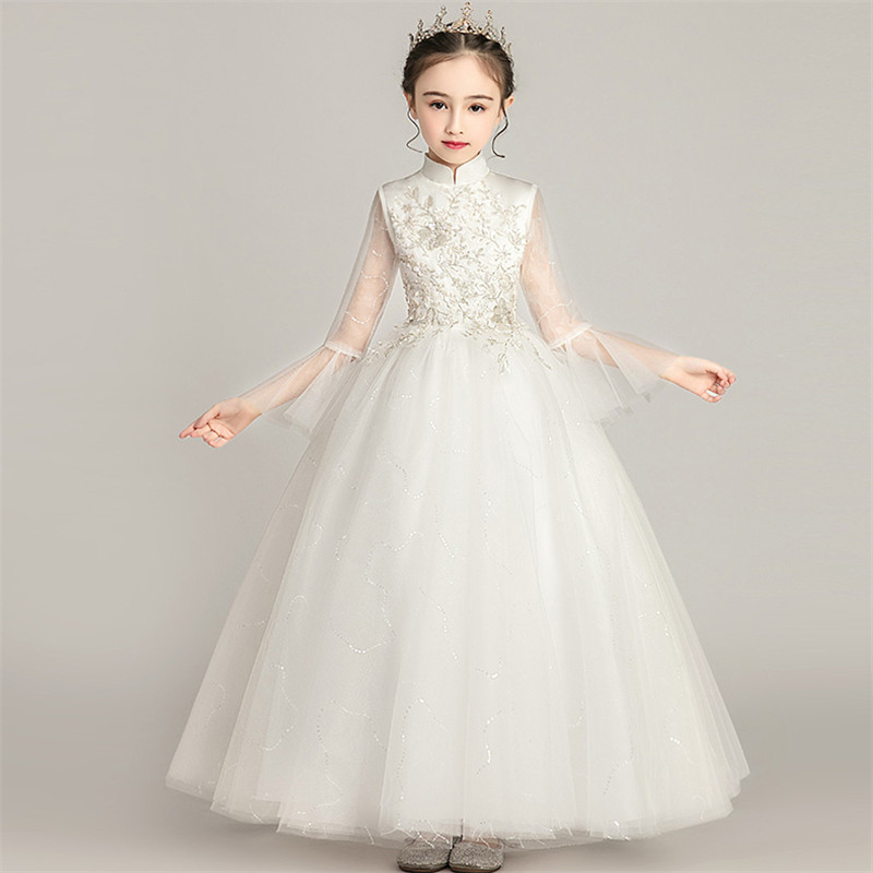 Children Girls Solid White Color Standing-Collar Birthday Wedding Party Princess Fluffy Dress Kids Teens Host Costumes Dresses