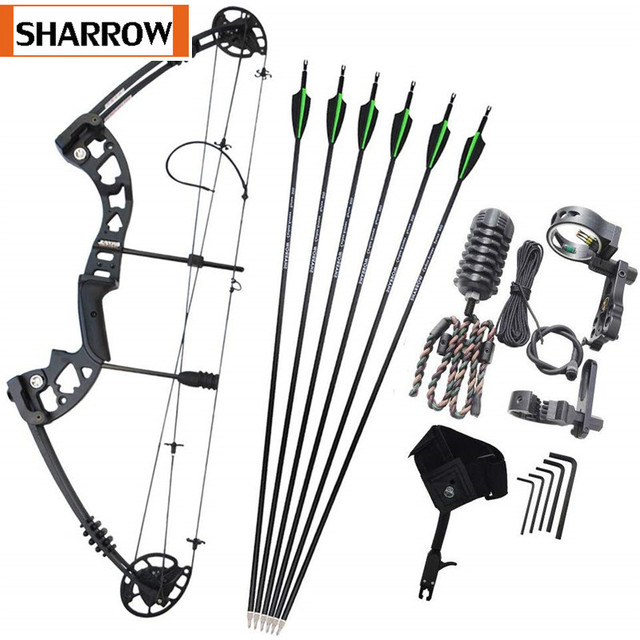 Archery 30-55lbs Compound Bow Kit Carbon Arrows  Adjustable 310FPS Adult Outdoor Hunting Shooting Right Hand with Accesssories 1