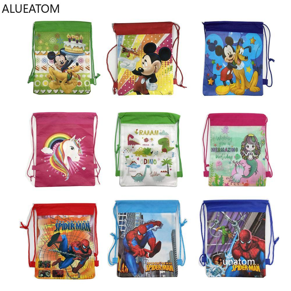 Christmas Gift Bag Cartoon Mickey Spideman School Backpack For Boy,Girl Unicorn Drawstring Bag Student Book Bag Kids School Bag