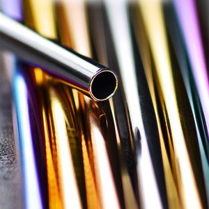 Image 5 - 100pcs/set Eco Freundliche Metall Stroh Wiederverwendbare 304 Edelstahl Trinken Rohre 215mm * 6mm Gerade gebogen bier Strohhalme Für Pinsel