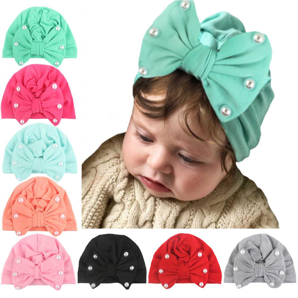2020 חדש הגעה תינוק כובעים חמוד ארנב קשת קשר עם פניני תינוקת כובע עם פניני צילום אבזרי טורבן כובעי ילדי כובעים