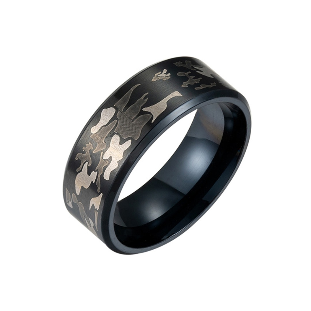 Titanium Steel Black Men S Rings Male Punk Camouflage Pattern Band