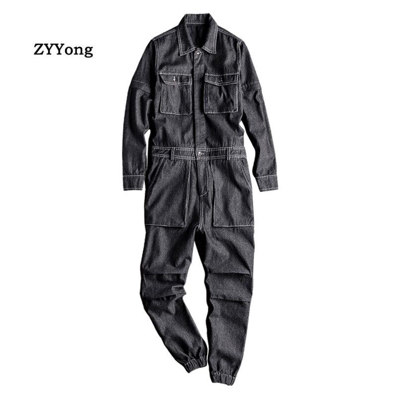 Men's Denim Jumpsuit Long Sleeve Removable Beam Feet Black Overalls Hip-Hop Jeans Cargo Pants Fashion Leisure Freight Trousers