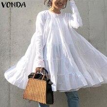 VONDA White Dress Women Vintage Long Sleeve Bohemian Mini Dress 2021 Summer Beach Sundress Casual Loose Vestidos Plus Size