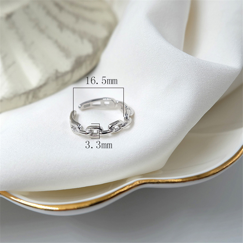 Genuine 100% 925 Sterling Silver Rings for Women Simple Link Chain Silver Ring Party Causal Vintage Jewelry Dropshipping 5