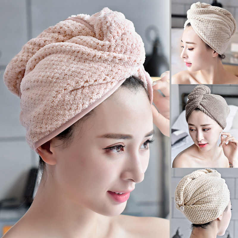 Magic Microfibre Fiber Hair Towel Quick Dry Hair Drying Towel Wrap Dry Hat Cap Twist Head Towel with Button Cap Wrap Bathing Hat