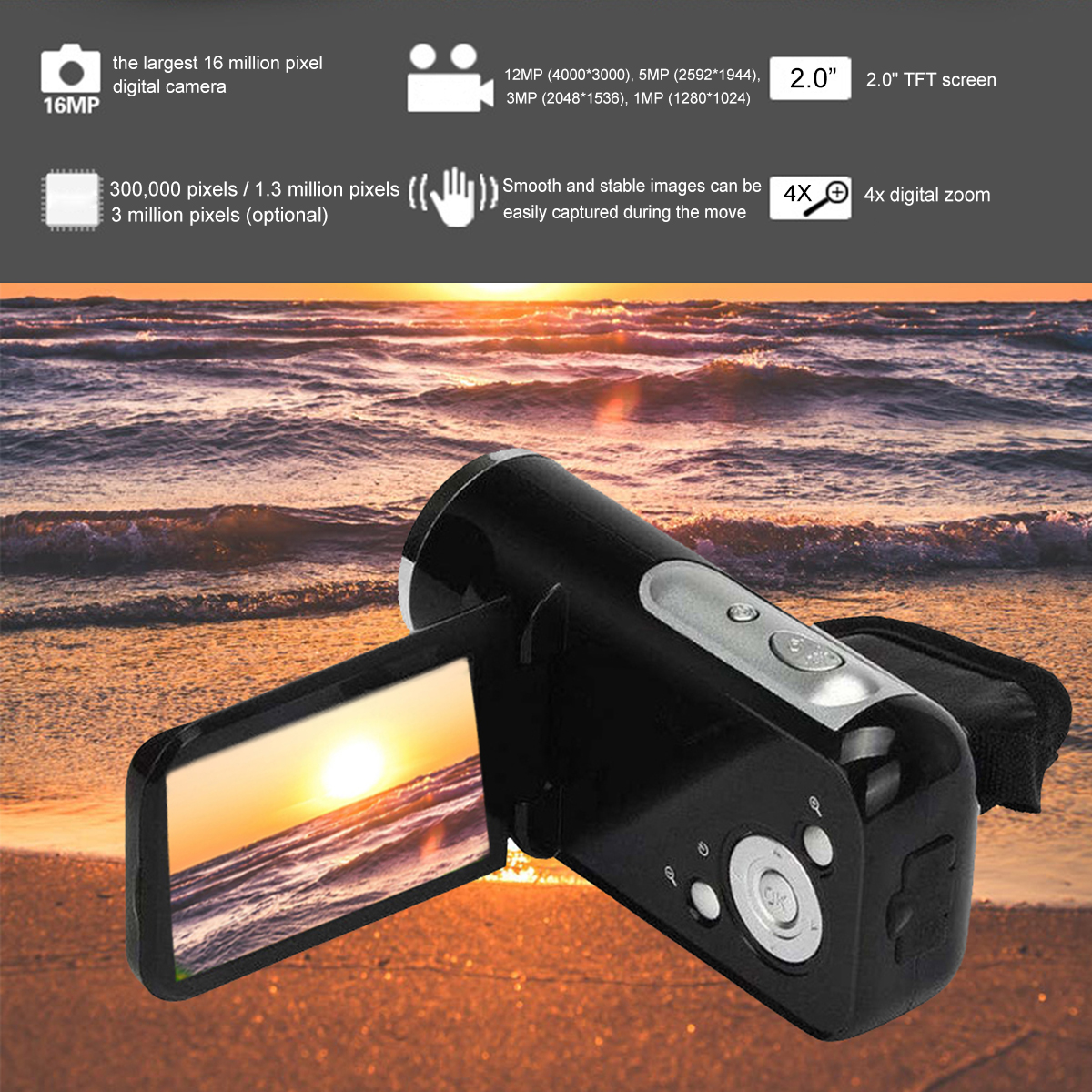 Portable digital camera camcorder Full HD 720p 16MP video camera fixed lens 4X Zoom Video camcorders professional Ultra-light image