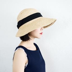 Image 3 - ליידי רחב גדול מגן שמש כובע לנשים טבעי ספארי קש כובע חוף צל רפיה כובע