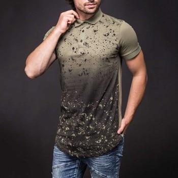 2020 novos camisas masculinas ajuste fino impresso polo camisa masculina verão casual manga curta impressão 3d arco hem topos verde polos brancos t040