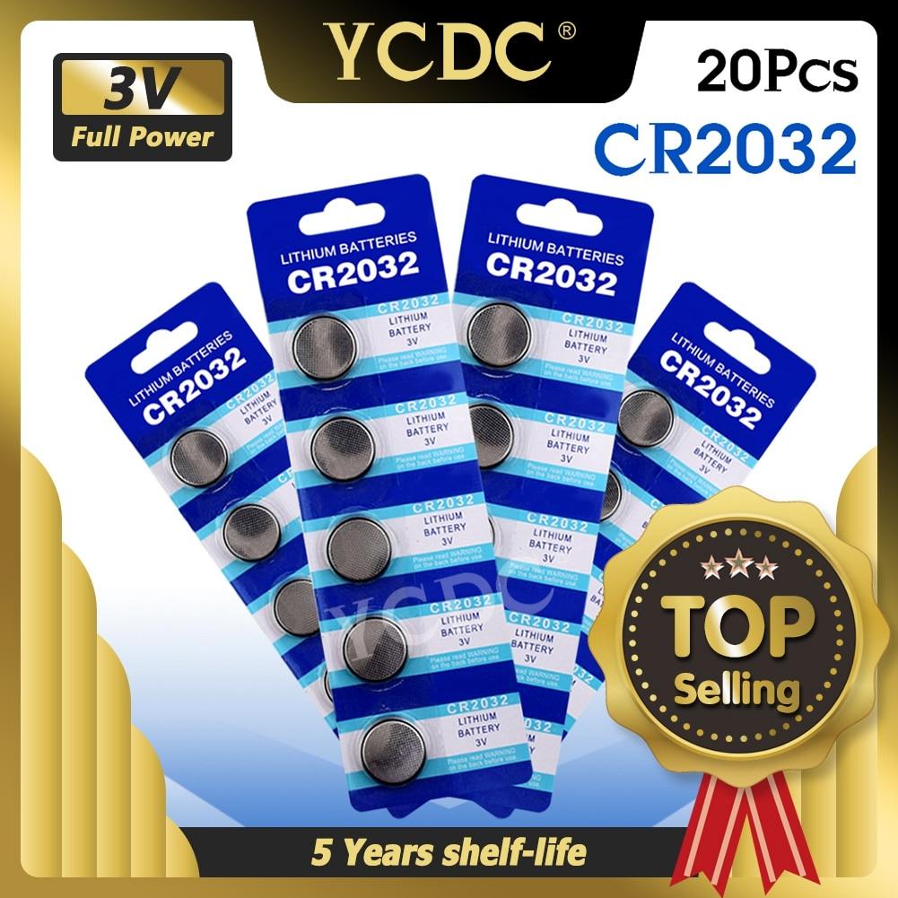 YCDC 20 шт. 3 в вольт CR2032 монетная батарея литий-ионная основная плата запасная Батарея пульта дистанционного управления DL2032 KCR2032 BR2032 KL2032