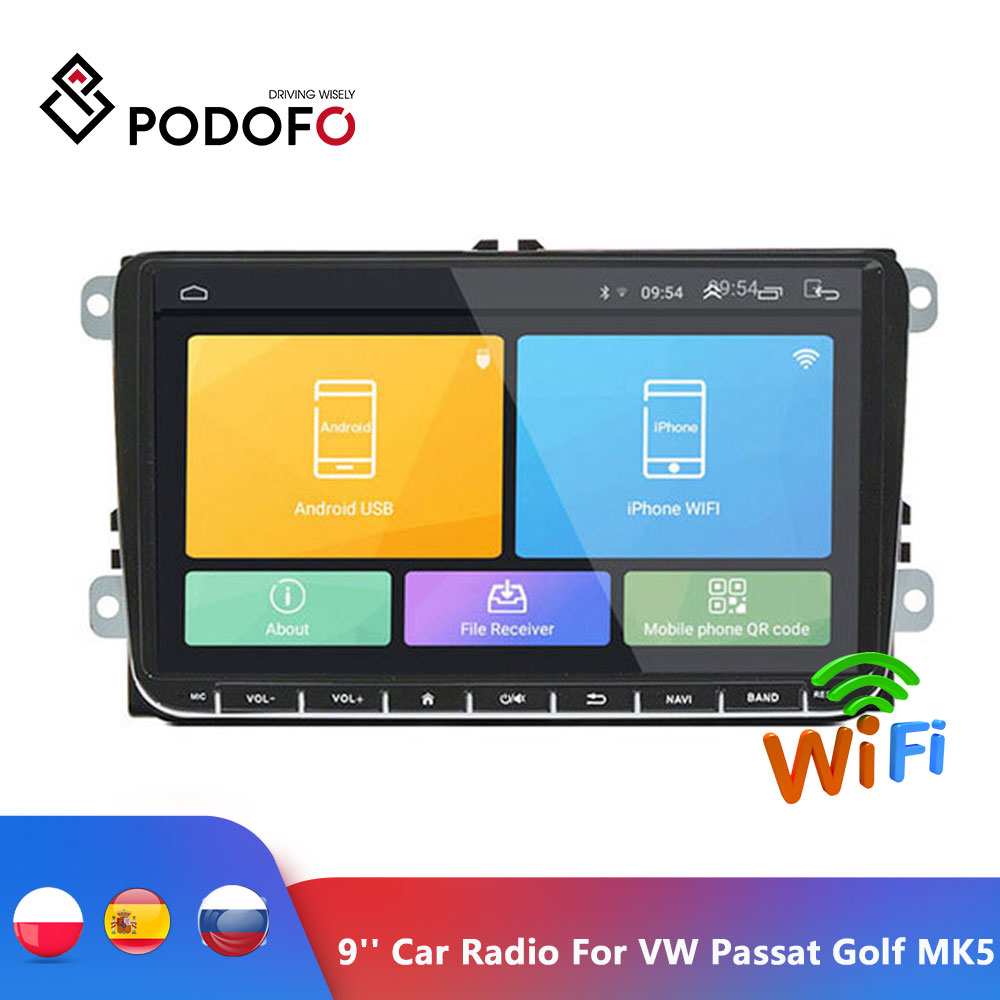 Podofo 9 inch Android 6.0 Car Radio Stereo Touch Screen Car Multimedia Player <font><b>2</b></font> <font><b>din</b></font> Radio GPS Stereo Wifi for <font><b>VW</b></font> Passat <font><b>Golf</b></font> MK5 image