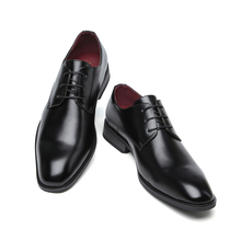Misalwa春/秋古典的なダービーの男性のビジネススーツの靴黒ブラウンとんがり男性正式なpuレザー靴