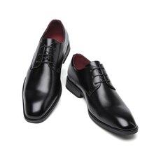 Misalwa zapatos de vestir clásicos Derby para hombre, calzado de negocios, negro, marrón, puntiagudos, formales de cuero PU, Primavera/otoño