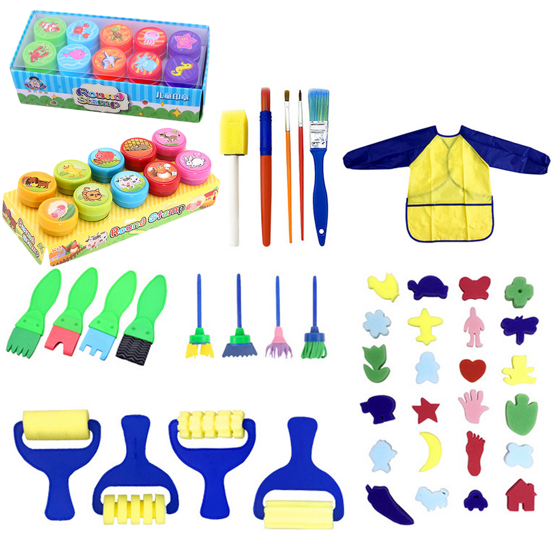 62Pcs Kids Children Painting Foam Sponge Brush Apron Tools Kit Nursery School Early Education Learning Drawing Artist Toys Gifts