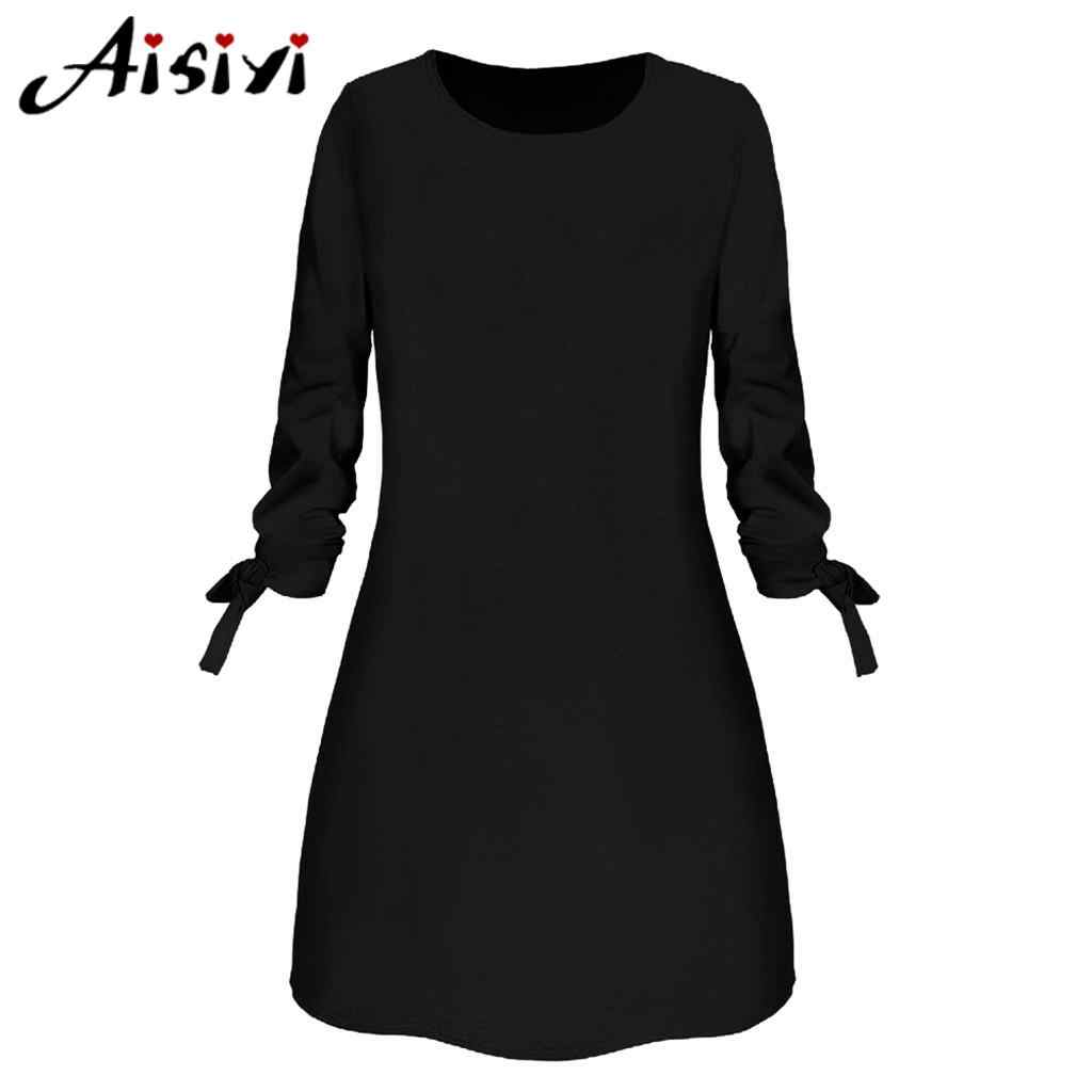 o-neck solid bow elegant straigth dress spring loose dresses winter dresses  women 2020 plus size kleider damen abendkleid kurz