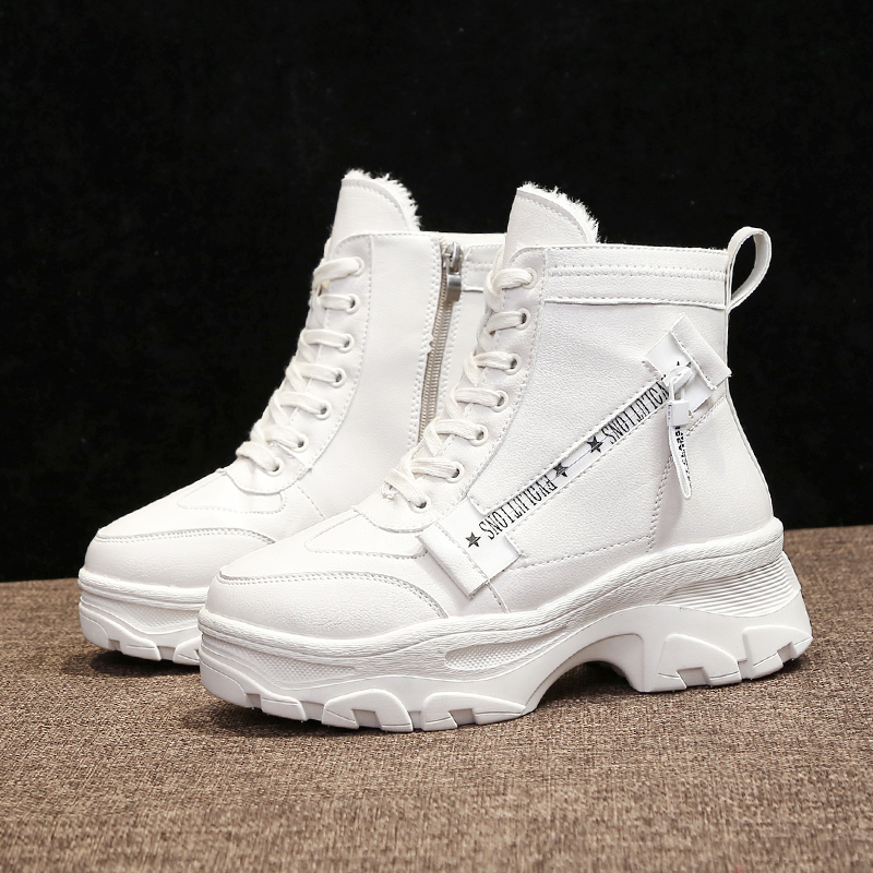 2019 New High Heel White Boots Warm Fur Plush Leather Female Chunky Sneakers Platform Winter Boots Zip Lace Up Ankle Boots