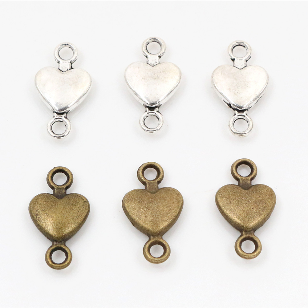 15x8mm 30pcs Antique Silver Plated And Bronze Plated Heart Connector Handmade Charms Pendant:DIY For Bracelet Necklace
