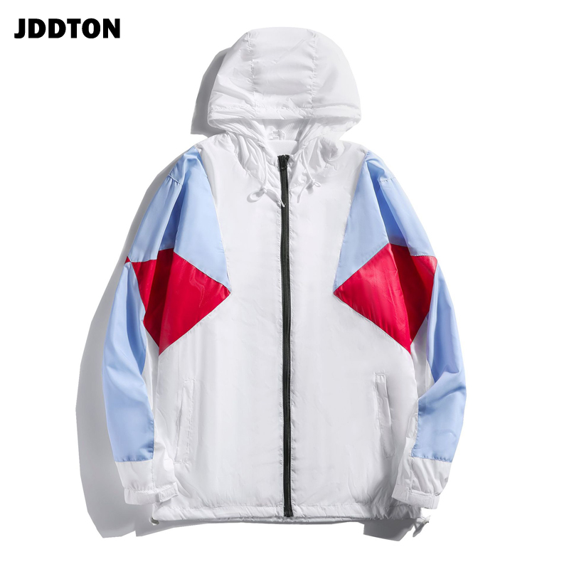 JDDTON Spring Autumn Mens Patchwork Hooded Jacket Loose Windbreaker Casual Thin Coat Fashion Brand Hip Hop Male Streetwear JE442