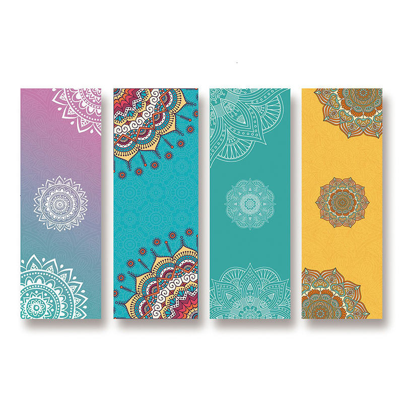 Floral Print Yoga Mat Pilates Bodybuilding Fitness Sport Pad Antiskid Sweat Absorption Yoga Towel Foldable Portable Exercise Mat