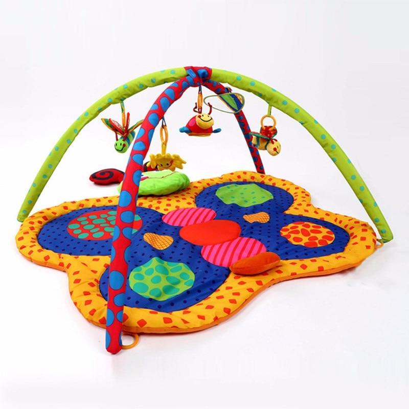 Nouveau-né bébé jouets papillon forme douce infantile activité tapis jouer Gym tapis tapis multifonction berceau sensoriel jouet jeu tapis avec rack