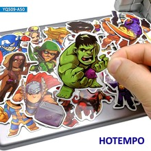 50pcs Cute Super Hero Cartoon Stickers for Mobile Phone Laptop Luggage Suitcase Skateboard Bike PVC Waterproof Decal Stickers