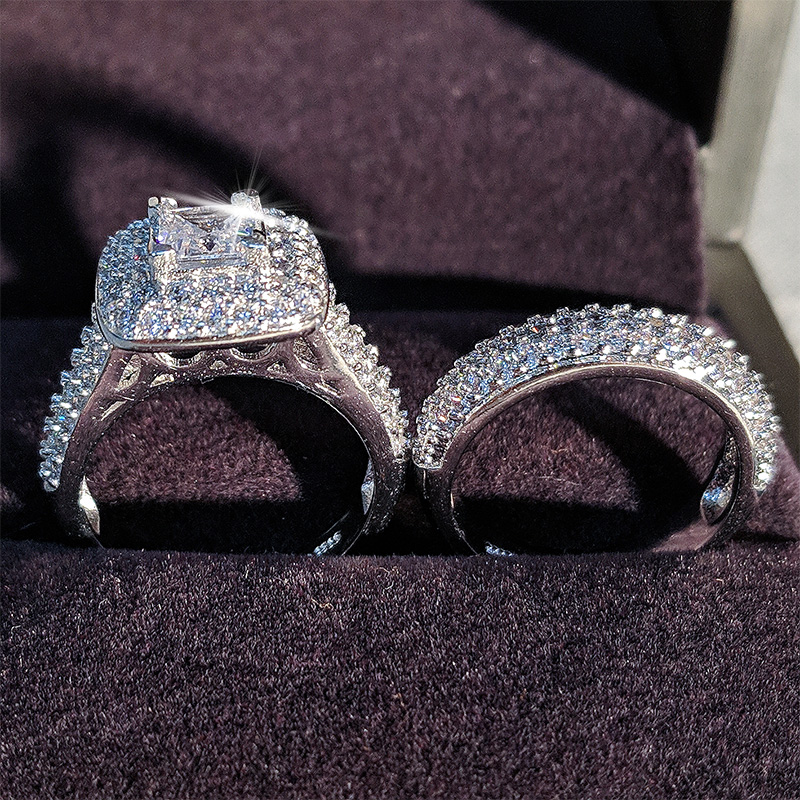 Moonso trendy Luxury 925 Sterling Silver Wedding Ring Set band for bridal girls and Women ladys love couple pair jewelry R3400