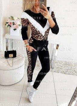 Chándal de mujer Otoño Invierno moda Lady Splice polar patchwork con estampado de leopardo abrigo dos piezas conjunto Hoodies pantalones largos traje