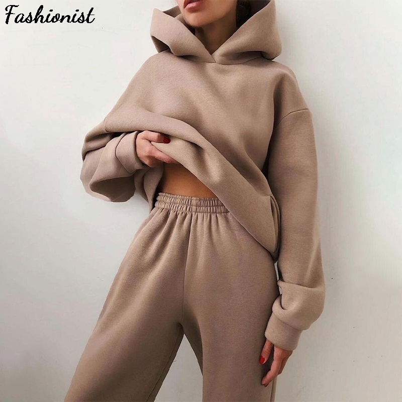 Women Elegant Solid Sets For Women Warm Hoodie Sweatshirts And Long Pant Fashion Two Piece Sets Ladies Lace Up Sweatshirt Suits 1