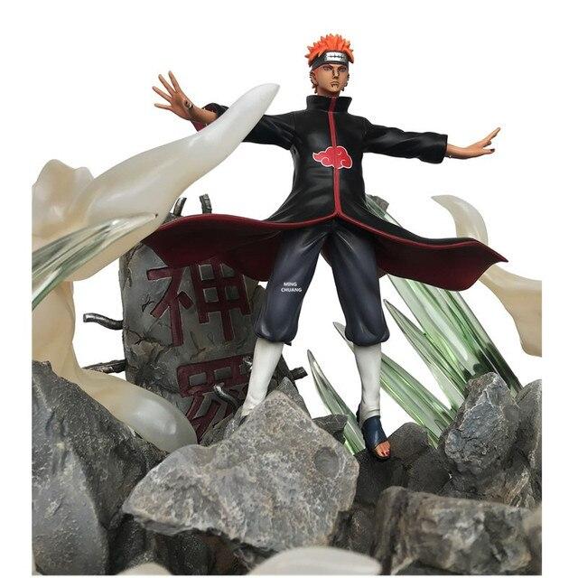 """18 """"Anime NARUTO Standbeeld Akatsuki Buste Hemel Pijn Volledige Lengte Portret Met LED Licht GK Action Figure Speelgoed DOOS 46CM V615"""