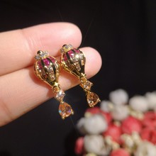 Korean  Creative Temperament Simple Anti-allergic Earrings indian golden ball rhinestone bohemian trendy earrings