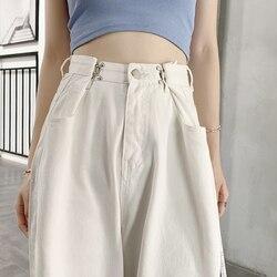 Свободные женские джинсы с высокой талией; Повседневные уличные джинсы в стиле бойфренда; Длинные белые джинсы; Модные джинсовые брюки