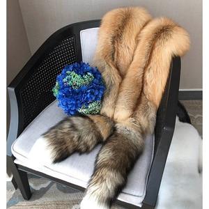 Image 5 - Ms. minshu Lungo Scialle di Pelliccia di Volpe di Lusso Genuino di Fox Della Pelle Scialle Tutta La Pelle di Volpe Stola con Code Naturale Sciarpa di Pelliccia di Volpe