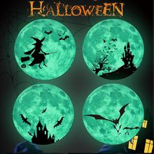 New Creative In The Dark Wall Luminous Round Wall Sticker Moon Castle Witch Bat Removable Halloween Decoration цена 2017